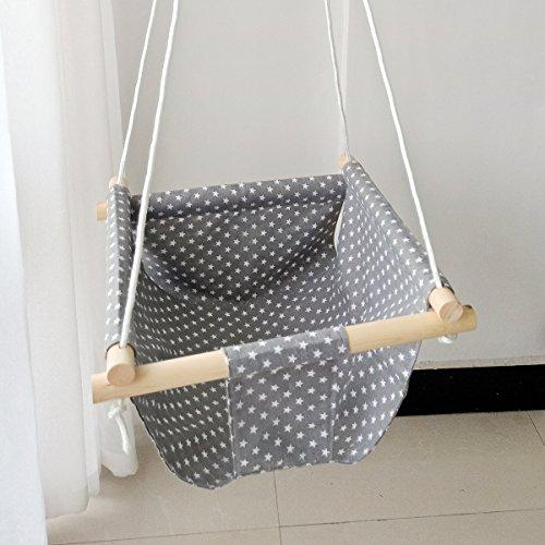 HB.YE Handmade Safety Canvas Baby Swing Chair, Portable Hanging Seat Hammock for Toddlers, Indoor Outdoor Baby Hammock Chair - Grey Star