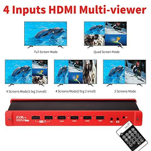 HDMI USB KVM Switch, Treaslin HDMI 4x1 Quad Multiviewer 1080P@60Hz Seamless  Switcher Support Wireless Mouse Keyboard to Real Time Control 4
