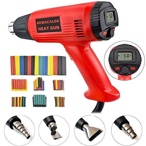 Heat Gun,NEWACALOX 2000W Hot Air Gun Adjustable Temperature 50~630℃ Wind Speed Adjustment with LCD Display and Memory Settings,Perfect for Stripping Paint, Soldering Pipes, Shrinking PVC