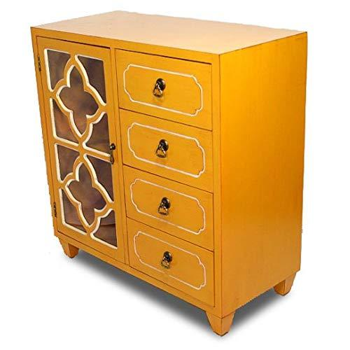"Heather Ann Creations 4 Drawer Chest and Cabinet, Clover Pattern Grille with Glass Backing, 30.75"" x 29.5"", Orange"