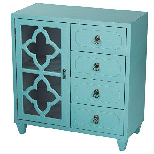 "Heather Ann Creations 4 Drawer Wooden Accent Chest and Cabinet, Clover Pattern Grille with Glass Backing, 30.75"" H x 29.5"" W, Turquoise"