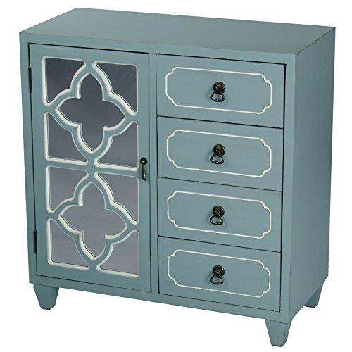 "Heather Ann Creations 4 Drawer Wooden Accent Chest and Cabinet, Clover Pattern Grille with Mirrored Backing, 30.75"" H x 29.5"" W, Turquoise"