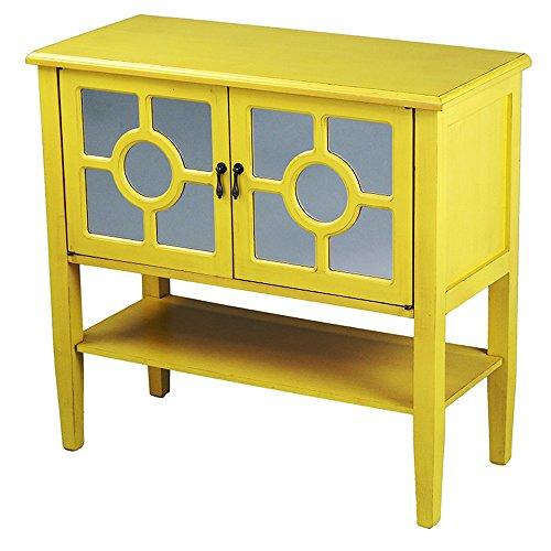 Heather Ann Creations Modern 2 Door Accent Console Cabinet With Circle Pane Glass Insert and Bottom Shelf Yellow