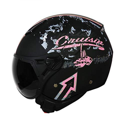 Helmet Half-covered Motorcycle Four Seasons Universal Summer Half Men And Women Personality International Safety Certification Standards (Color : PINK, Size : XXL)
