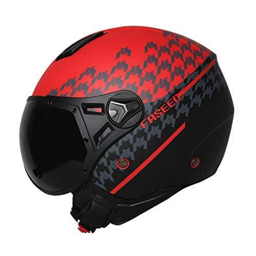 Helmet Half-covered Motorcycle Four Seasons Universal Summer Half Men And Women Personality International Safety Certification Standards (Color : RED, Size : L)
