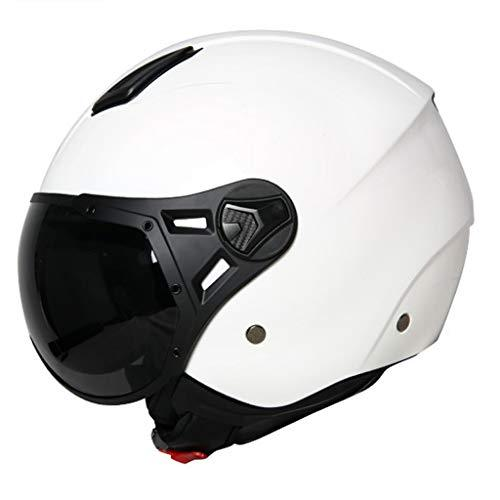 Helmet Half-covered Motorcycle Four Seasons Universal Summer Half Men And Women Personality International Safety Certification Standards (Color : White, Size : L)