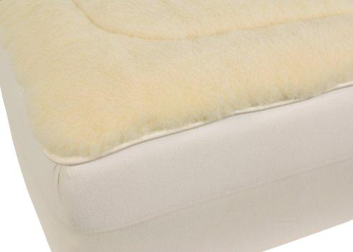 Herington All-Natural 400 GSM Micraloft Australian Wool Reversible Twin Mattress Pad, White