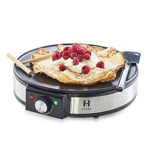 "Heska - Crepe and Pancake Maker 12"" -Electric Pancakes Machine with Batter Spreader and Spatula - Powerful Electric 1200W Non-Stick Maker with Adjustable Temperature Control"