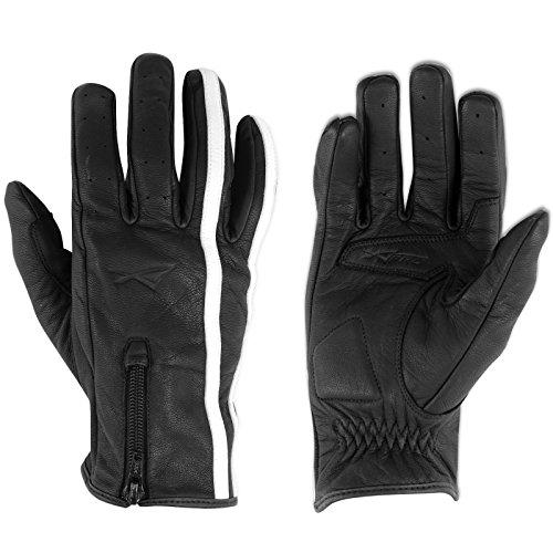 Hi Quality leather Gloves Cruiser Bikers Motorbike Motorcycle Sonicmoto Black XS