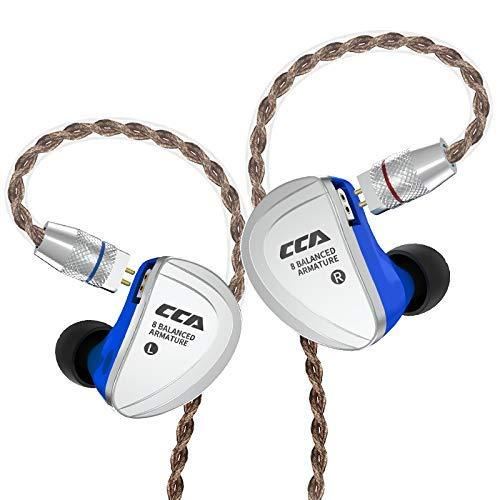 HiFi in-Ear earphones,CCA- C16 IEM Earphones/Headphones 8 Balanced Armature Units per side,Zinc Alloy Shell Custom Made Sound Performance for Musician Audiophile with Detachable Cable(NO MIC)
