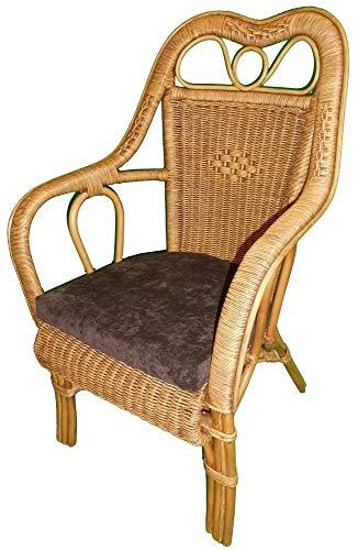High Back Cane Chair 2-Tone 'Antique' Colour with Brown Seat Pad