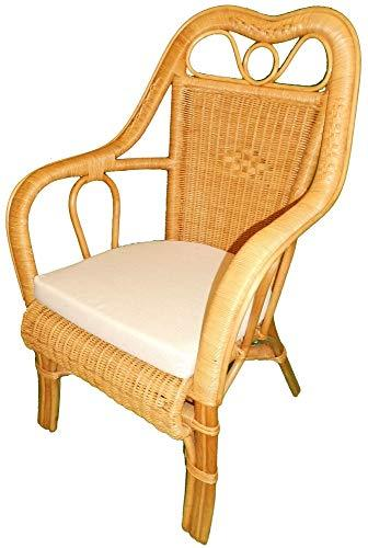 High Back Wicker Chair - Candy Brown with Seat Pad