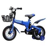 High Carbon Steel Frame Fold Kids Bike, With Shock Absorber And Training Wheels, Gift For Boys And Girls (color : Blue, Size : 12 inches)