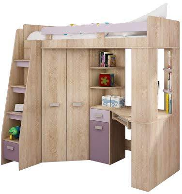 High Sleeper, Bunk Bed/Entresole. ALL IN ONE. Left Hand-side Stairs. Kids/Children Furniture Set. Bed, Wardrobe, Shelves, Desk (Sonoma Oak - Purple)