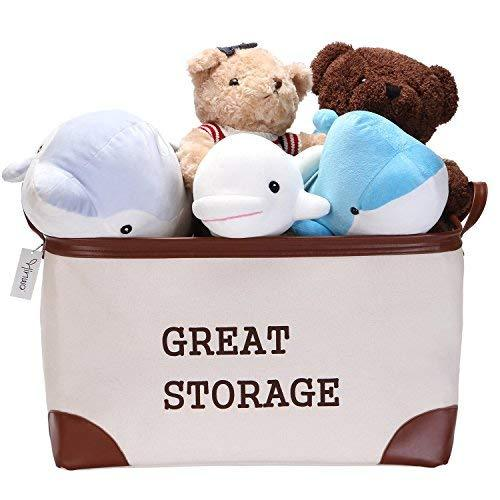 Hinwo 68L Large Capacity Storage Bin Basket Thickened Canvas Fabric Toy Chest Organizer with PU Leather Handles for Kids Toys Laundry Clothes Nursery Playroom and Shelves, 22 x 15 x 12.6, Off White