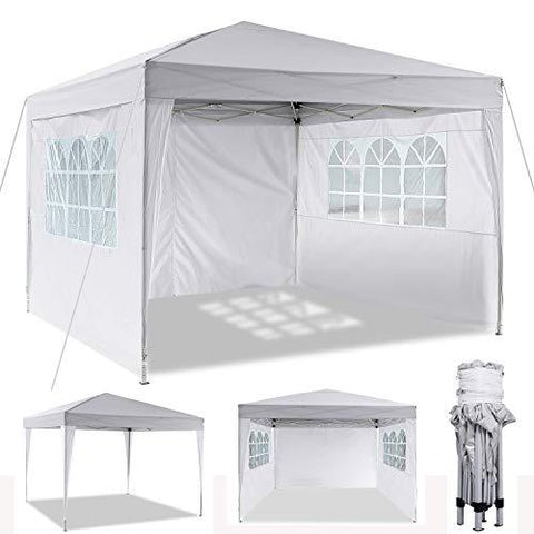 Hiriyt 3x3m/3x6m Garden Gazebo Marquee Tent with Side Panels, Fully Waterproof, Powder Coated Steel Frame for Outdoor Wedding Garden Party (3x3m_White)