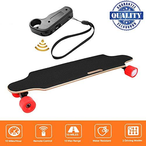 Hiriyt Electric Skateboard Longboard Skateboard with Wireless Remote Control Bluetooth, Long Board 7 Layers Board Solid Maple Leaf, Maximum Speed 20km h (Red)