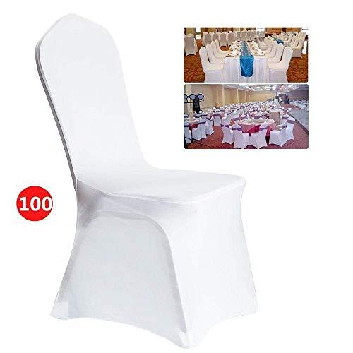 Hiriyt White Spandex Chair Covers Wedding Universal 100 Pieces Banquet Wedding Dining Room Decoration 100pcs