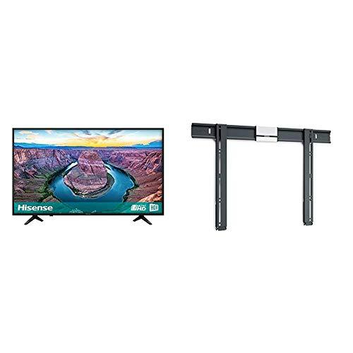 Hisense H65AE6100UK 65-Inch 4K Ultra HD HDR Smart TV with Freeview Play - Black (2018 Model) with Vogel's Thin 505 wall mount