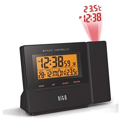 HITO Atomic Radio Controlled Projection Alarm Clock w/ Date, Temperature, Week, Alarm Status, Backlight -mains powered/ battery operated