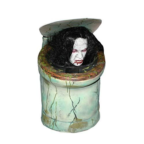 HMEI Halloween Props ,Toilet Voice Control Female Ghosts Scary Haunted House Secret Room Escape Horror Props Supplies