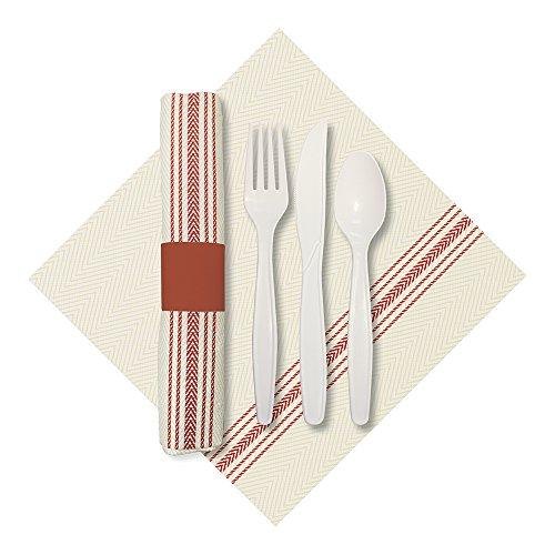 Hoffmaster 120010 Rolled Cutlery Set with Printed Dishtowel Dinner Napkin with Knife, Fork, and Spoon, White/Red (Pack of 100)