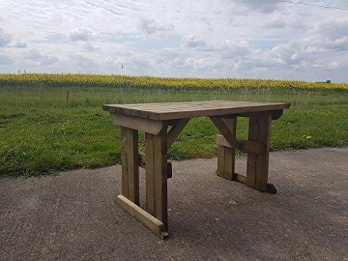 HOLLIES STANDARD WOODEN PICNIC TABLE FT TO FT RUSTIC BROWN - Pressure treated wood picnic table