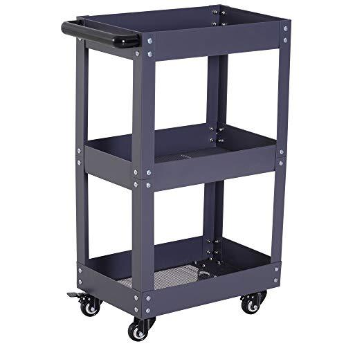 HOMCOM 3 Tier Multi-Purpose Kitchen Storage Trolley Serving Cart with Handle Metal Storage Unit Bathroom Garage Shelving Utility Organiser with Rolling Castors Black