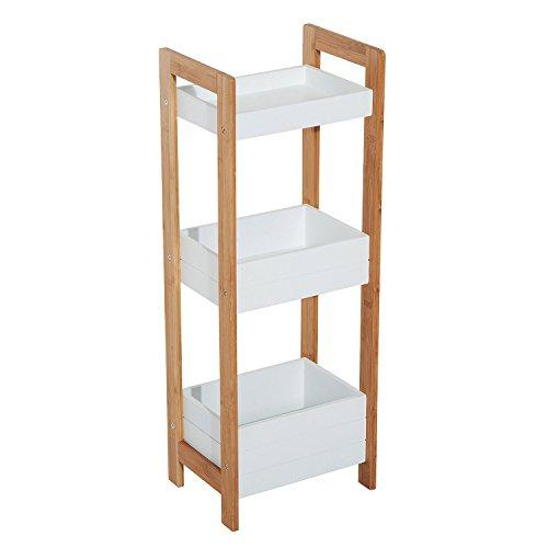 HOMCOM 3 Tier Storage Shelf Bamboo Organiser Bathroom Shower Caddy Display Rack Baskets