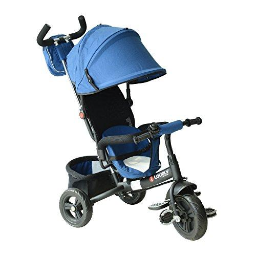 HOMCOM Baby Kids Children Tricycle Ride on 3 Wheels Safe Canopy Bike w/Handle (Blue)