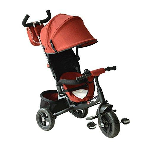 HOMCOM Baby Kids Children Tricycle Ride on 3 Wheels Safe Canopy Bike w/Handle (Red)