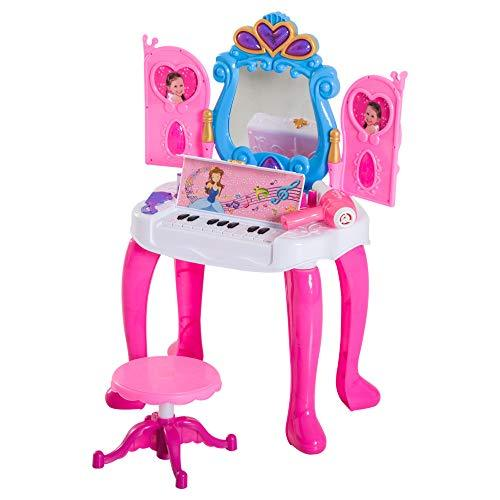 HOMCOM Kids Dressing Table Stool Set Makeup Vanity Mirror Piano Play Music with Remote Control Ideal for Girls Over 3 Years