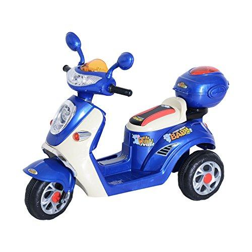 HOMCOM Kids Electric Ride On Toy Car Kids Motorbike Children Tricycle w/6V Chargeable Battery Headlight and Music (Blue)
