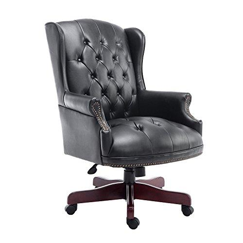 HOMCOM Luxury Rolling Executive Managers Directors Chesterfield Antique High Back Office Chair PU Leather Padded Swivel Adjustable Ergonomic Computer Desk Seat Armchair (Black)