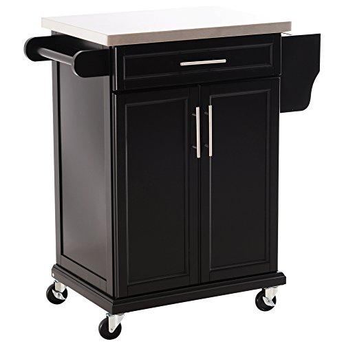 HOMCOM Wooden Kitchen Cart Serving Trolley Storage Cabinet Cupboard with Stainless Steel Top 1 Drawer 4 Wheels Side Handle & Rack - Black