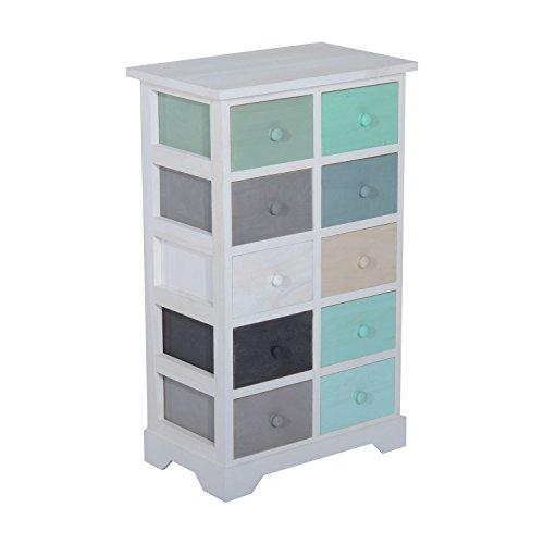 HOMCOM Wooden Storage Cabinet Unit Chest of Drawers 10 Multicolor Drawers Wood Filing Organiser Home Office Furniture