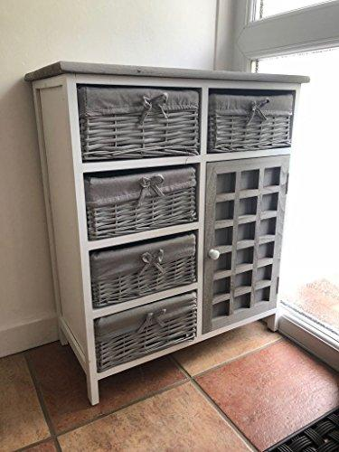 Home Delights Grey Vintage Hallway Cabinet Chest of Drawers Storage Cupboard Unit Wicker Baskets