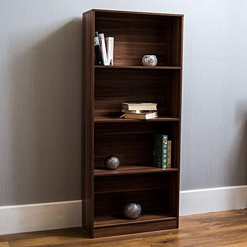 Home Discount Cambridge 4 Tier Large Bookcase, Walnut Wooden Shelving Display Storage Unit Office Living Room Furniture
