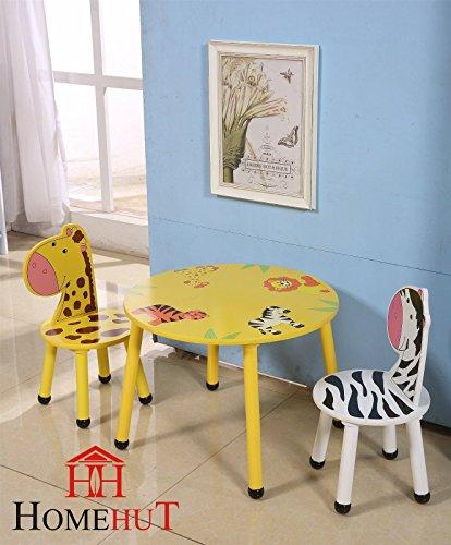 HOME HUT Kids Wooden Table and Chairs Set - Childrens Toddler Animal Jungle Themed Gift