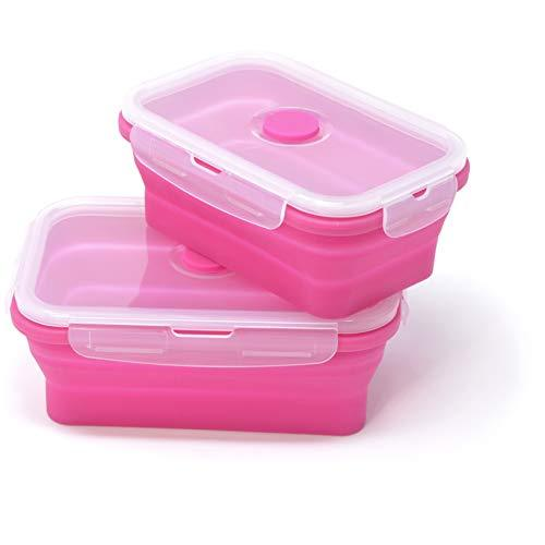 Home Line Silicone Foldable Storage Container Storage Box – Can be used as a Lunch Box Lunch Box Bento Box – Microwave, Dishwasher and Freezer Safe – SGS Tested Fuchsia 800 Ml + 540 Ml
