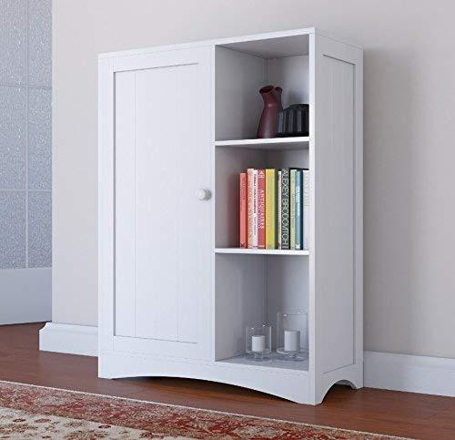 Home Source Floor Cabinet Painted White 3 Shelves 1 Cupboard Storage Unit Kitchen