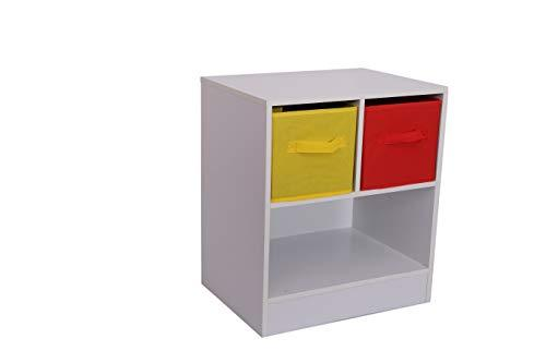 Home Source Kids Chest of 2 Canvas Drawers Bedside Cabinet or Lamp Table Toy Storage