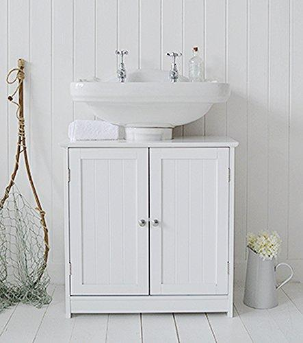 Home Treats White Under the Sink Cupboard, Space Saving Bathroom Floor Cabinet