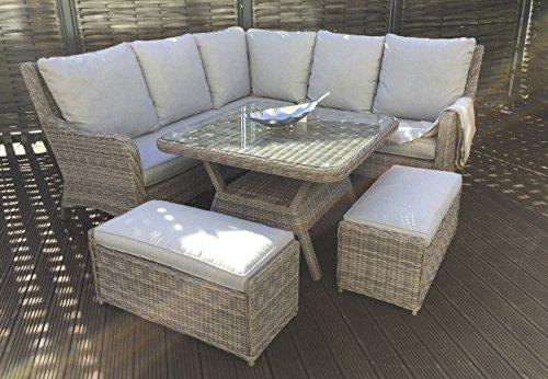 Homeflair Rattan Garden Furniture Alexandra brown corner sofa + Dining table + 2 stool