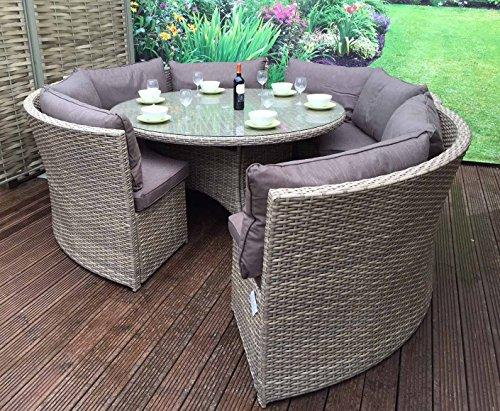 Homeflair Rattan Garden Furniture Chloe Grey Round Corner Sofa + Dining Table