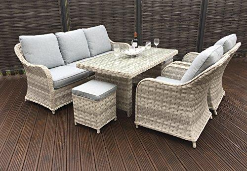 Homeflair Rattan Garden Furniture Constance 3 seater sofa, Table, chairs, Stools