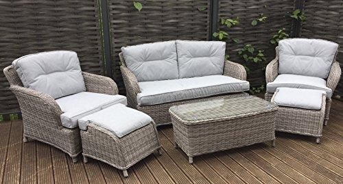 Homeflair rattan Garden Furniture Harriet brown 2 seater sofa,ottoman stools
