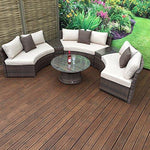 homeflair rattan Garden Furniture Juliet white circle sofa set + middle tables