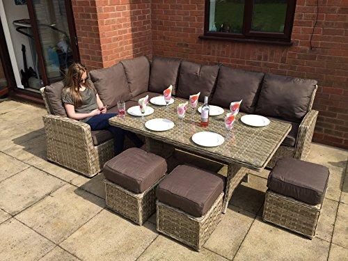 homeflair Rattan Garden Furniture Katherine brown corner sofa, table,3 stools