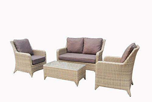 Homeflair Rattan Garden Furniture Sarah brown 3 seater sofa + table + 2 chairs
